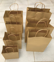 25-200 BULK BROWN KRAFT CRAFT PAPER GIFT CARRY BAGS Paper HANDLES 7 sizes
