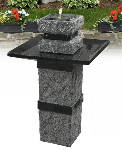 Solar powered Garden Modern Zen ornamental birdbath fountain water feature pump