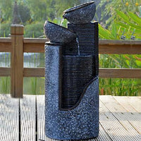 Solar Stone look Pillar and Bowls Water Feature Fountain with LED light SL295