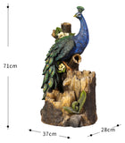 Peacock Forest Cascade Water Fountain Feature Solar pump Battery Timer LED light
