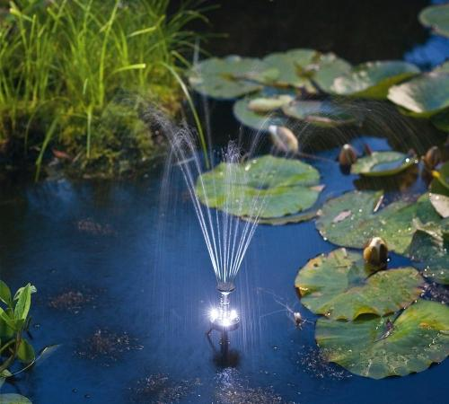 Day/Night Solar Panel POND WATER Fountain Feature PUMP W/ Battery LED Light 180L