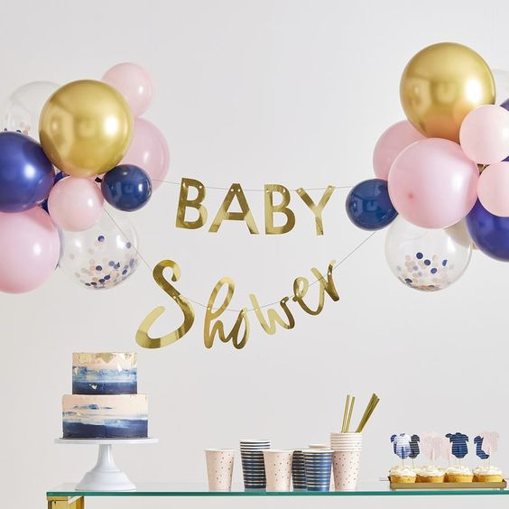 GOLD BABY SHOWER BANNER AND BALLOON DECORATION