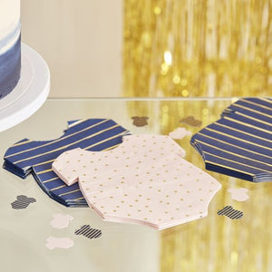GOLD FOILED PINK AND NAVY BABY GROW GENDER REVEAL PARTY NAPKINS