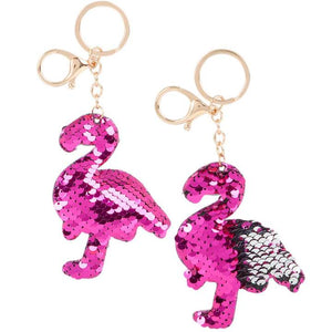 "4"" FLIP SEQUIN FLAMINGO KEYCHAIN"