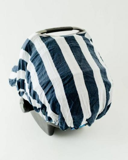 Navy Stripe Carseat Canopy