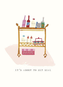 DIAPERS ON THE BAR CART - GREETING CARD
