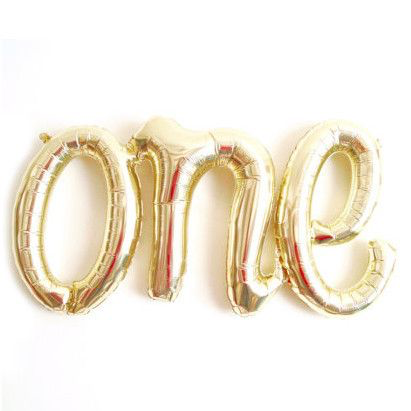 One Script Balloon- white gold