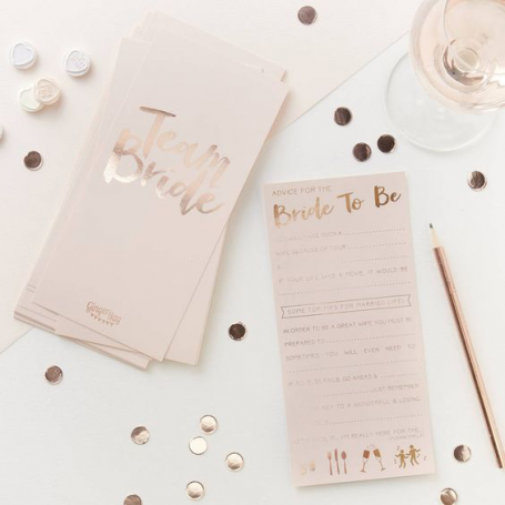 Pink And Rose Gold Advice For The Bride To Be Cards