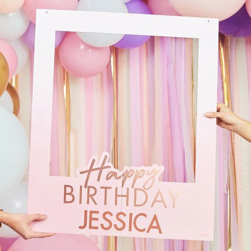 Rose Gold Foiled Personalized Happy Birthday Selfie Photo Booth Frame
