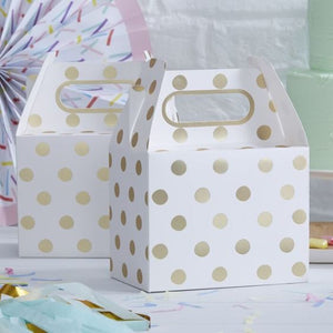 GOLD FOILED POLKA DOT PARTY BOXES