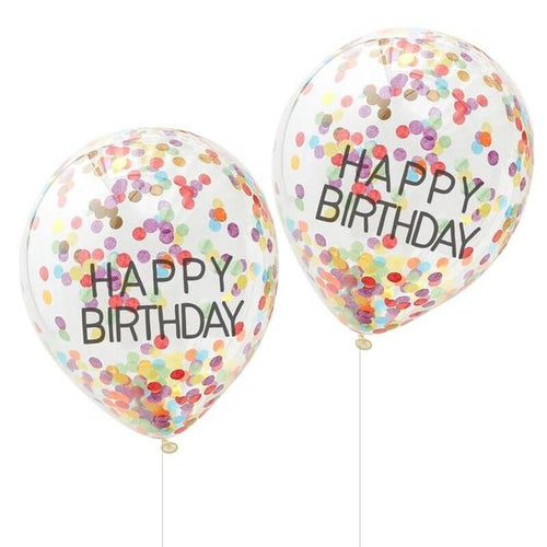 SET OF 5 HAPPY BIRTHDAY RAINBOW CONFETTI BALLOONS