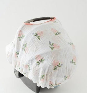 Cotton Muslin Car Seat Canopy- Watercolor Rose