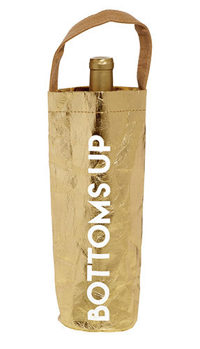 WINE BAG - BOTTOMS UP - GOLD