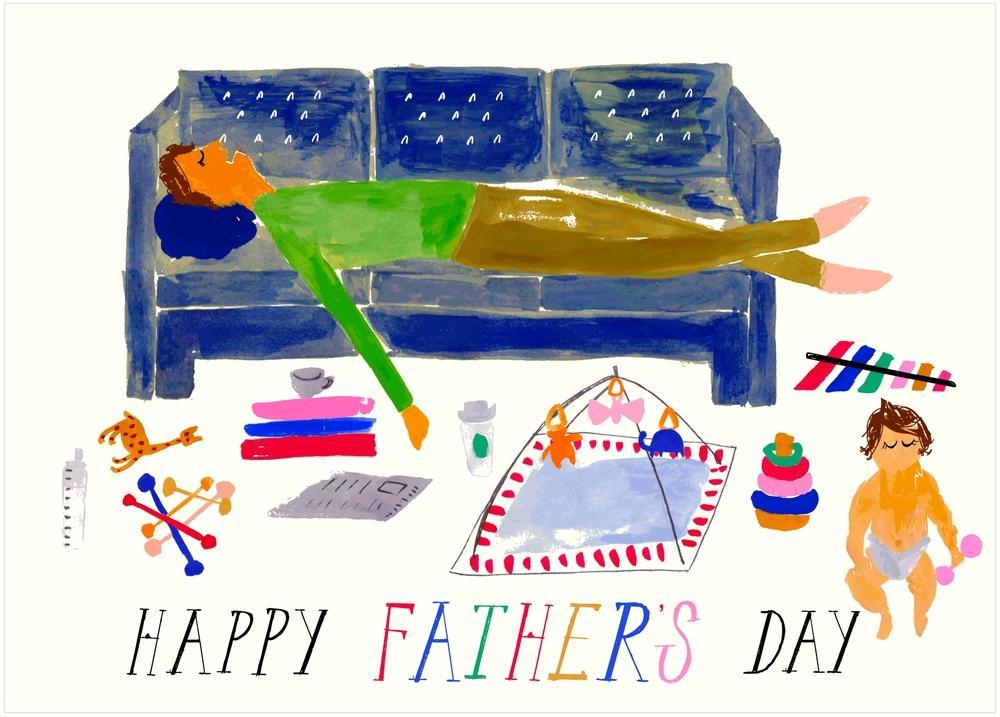 DADDY'S CAT NAP - FATHER'S DAY GREETING CARD