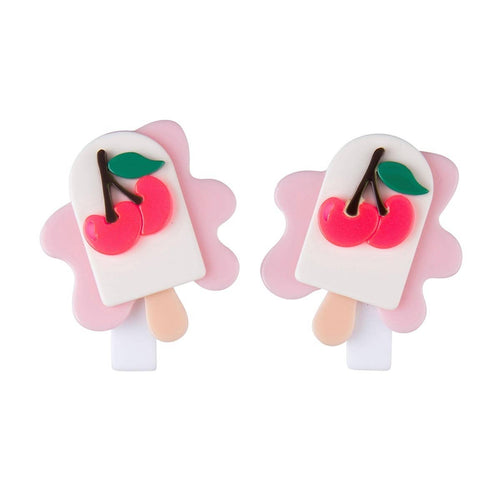 Melting Cherry Popsicle Alligator Clip