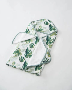 Hooded Towel & Washcloth Set - Tropical Leaf