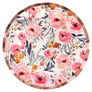 BLUSH BOUQUET WAVY PAPER DINNER PLATE/8PK