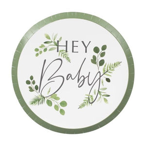 BOTANICAL HEY BABY SHOWER PLATES
