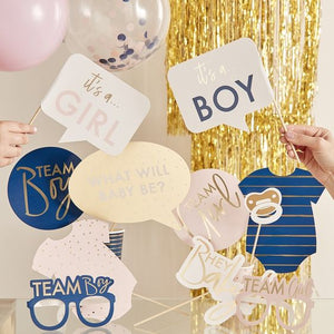 GOLD FOILED GENDER REVEAL PARTY PHOTO BOOTH PROPS