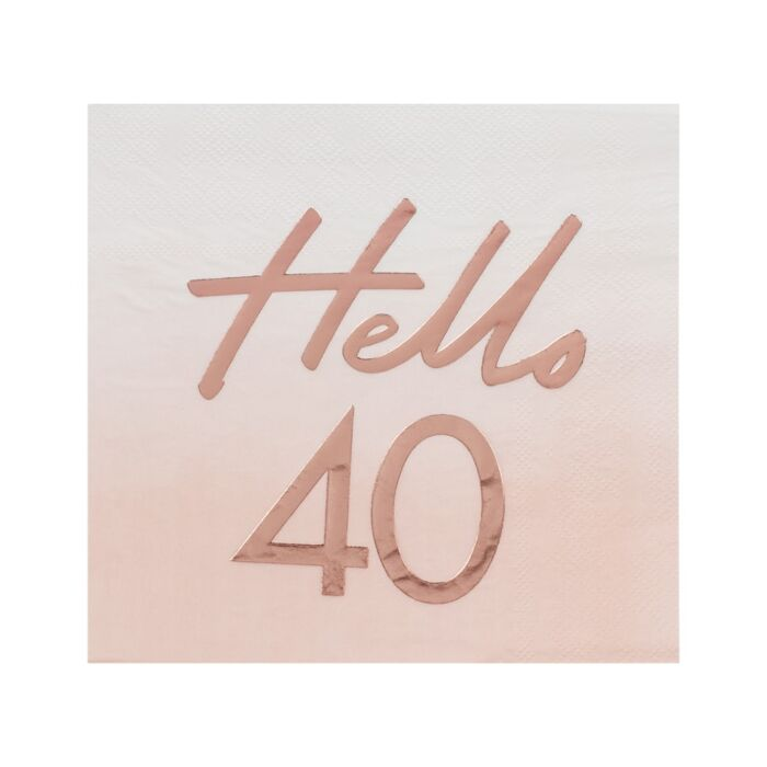 Hello 40th Birthday Party Napkins Rose Gold