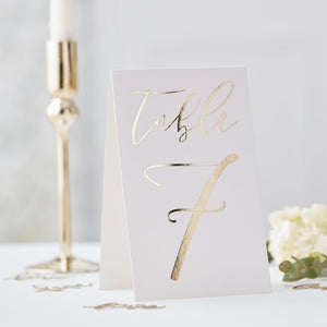 TABLE CARD NUMBERS 1-12 - GOLD WEDDING