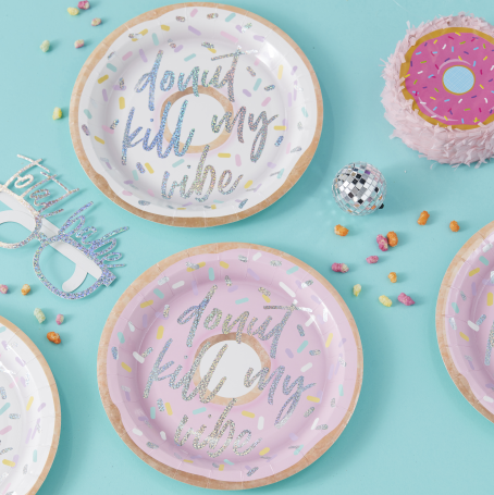 IRIDESCENT FOILED DONUT KILL MY VIBE PAPER PLATES