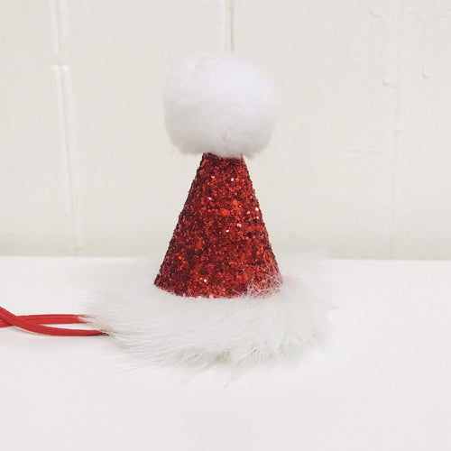 Mini Red glitter and White fur party hat