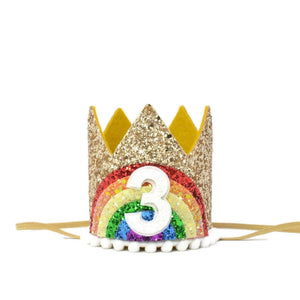 Bright Rainbow Birthday Crown - WITHOUT NUMBER