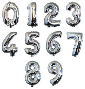 40inch Silver Number Balloon (including inflation)