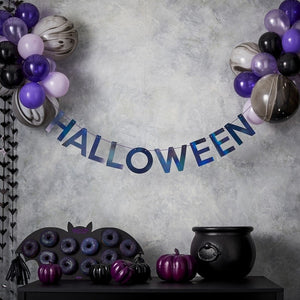 HALLOWEEN BUNTING & BALLOONS HANGING PARTY DECORATION