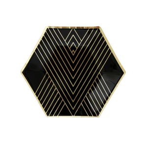 Black Hexagon Small Party Plates