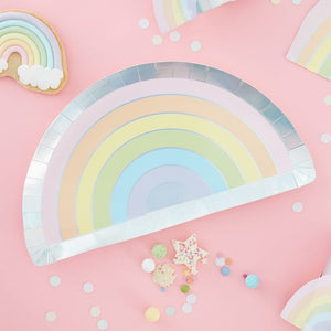 RAINBOW SHAPED IRIDESCENT FOILED PAPER PLATES