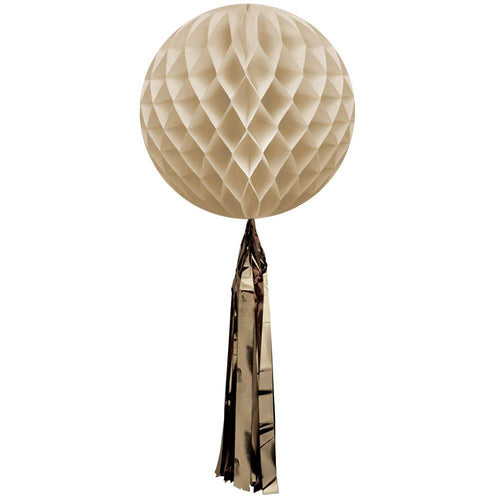 SAND HONEYCOMB BALL WITH GOLD TASSEL