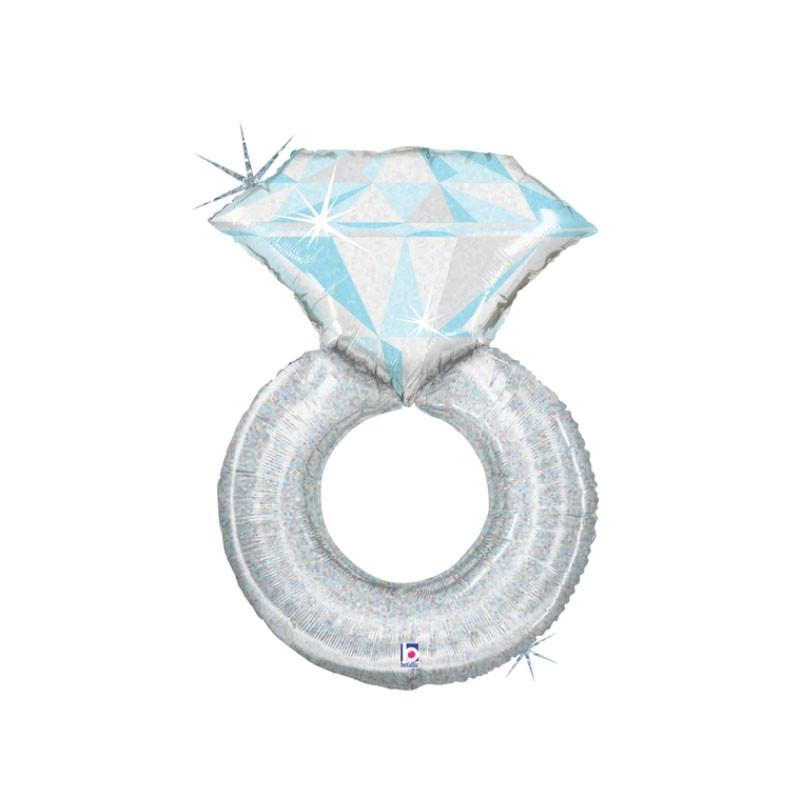 Giant Platinum Engagement Ring Shaped Foil Balloon