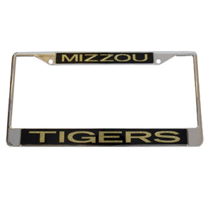 Mizzou Tigers Gold Glitter Chrome License Plate Frame