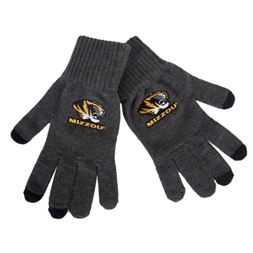 Mizzou Tiger Head UText Charcoal Knit Gloves