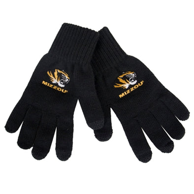 Mizzou Tiger Head iText Black Knit Gloves