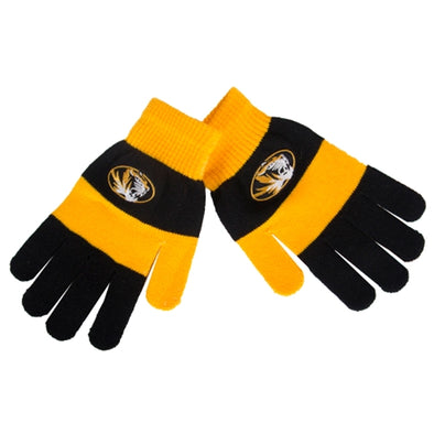 Mizzou Oval Tiger Head Black & Gold Rugby Stripe Gloves