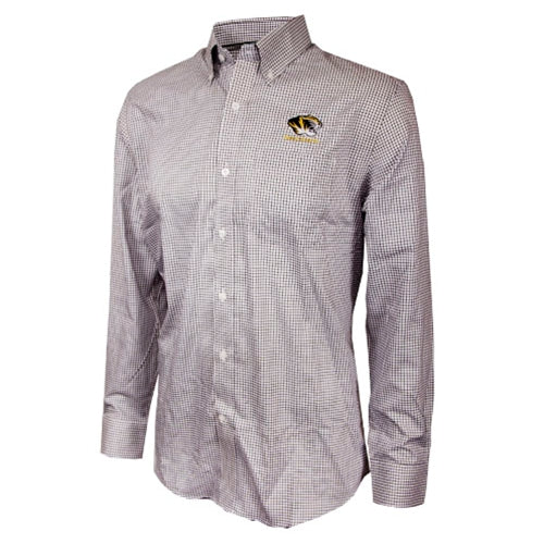 Mizzou Cutter & Buck Tiger Head Black Checked Dress Shirt