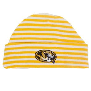 Mizzou Infant Oval Tiger Head Striped Gold Warming Cap