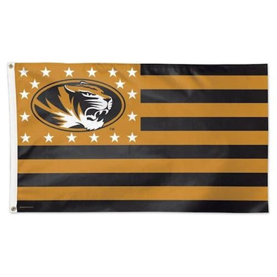 Mizzou Oval Tiger Head Stars & Stripes Flag