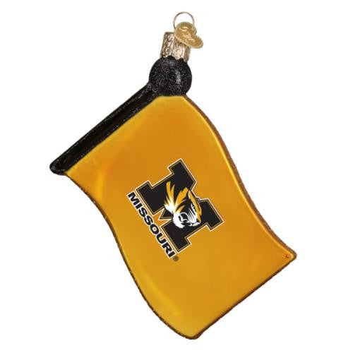 Mizzou Tigers Glass Flag Ornament