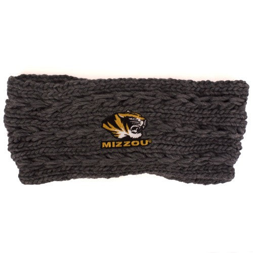 Mizzou Tiger Head Grey Knit Twist Headband