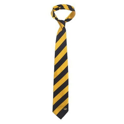 Mizzou Oval Tiger Head Woven Black and Gold Silk Diagonal Stripe Tie