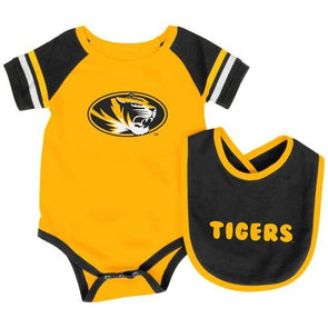 Mizzou Infant Roll Out Oval Tiger Head Onesie with Bib