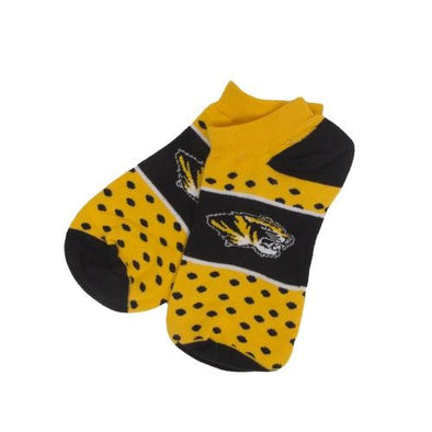 Mizzou Tiger Head No Show Dot Band Socks