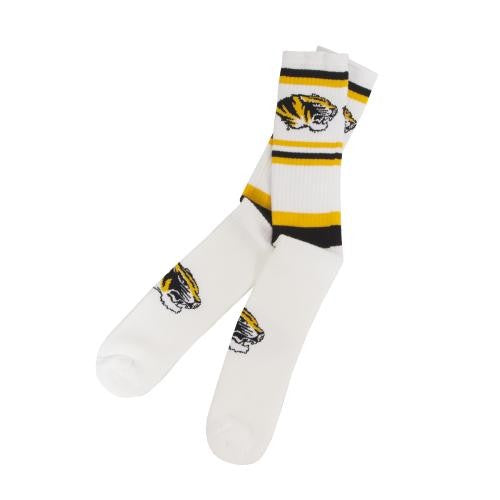 Mizzou Tiger Head Tube Squad White Stripe Socks