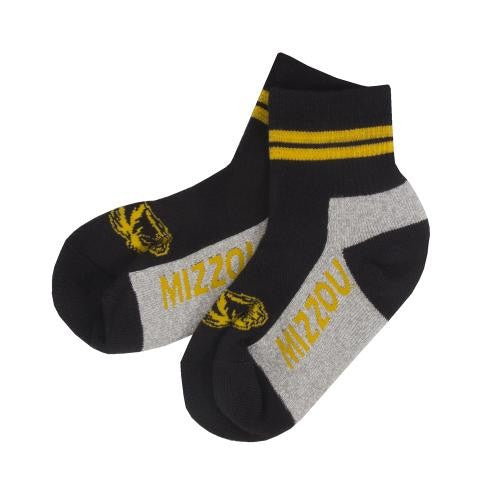 Mizzou Tiger Head Two Stripe Black and Grey Ankle Socks