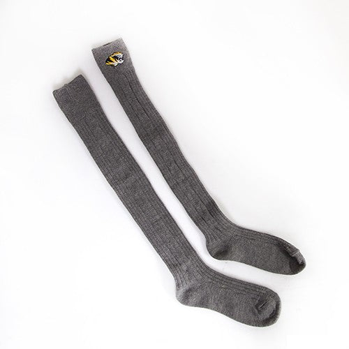 Mizzou Tiger Head Midfield Over the Knee Grey Socks