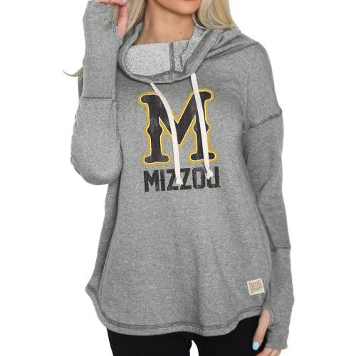 Mizzou Juniors' Classic Collection Skinny M Funnel Neck Grey Sweatshirt